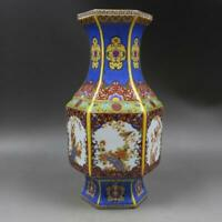 Chinese ancient antique hand make Enamel Flower and bird vase s168