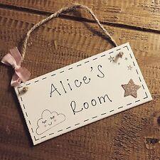 Personalised Name Plaque Door Nursery Bedroom Sign Gift Girls Sleepy Cloud Room