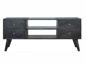 Hand Made Ash Black 4 Drawer Media Unit TV Stand Solid Wood Nordic Style Legs!