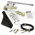 Floor Mount Emergency Parking Brake Black Boot, Chrome Ring and Cable Kit