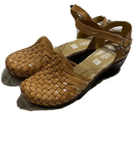 Authentic Mexican Women's Huarache Wedge Leather Sandal Shoes Handmade Size 10