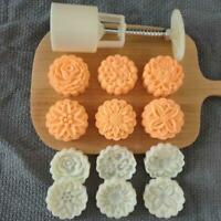50g Mooncake Mold 4/6pcs 3D Flowers Stamps Hand Press Moon Cake Pastry Mould DIY