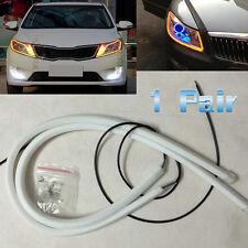 1 Pair 30CM Amber LED Car DRL Daytime Running Lamp Flexible Soft Tube Light 12v