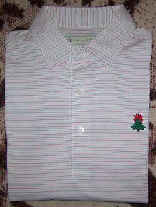 DONALD ROSS Polyester Golf Polo Dress Shirt BURNING TREE CLUB BETHESDA L TOP 100