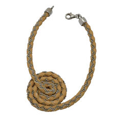 Bracciale spirale pelle gialla con catena a pallina argento titolo 925 rodiato