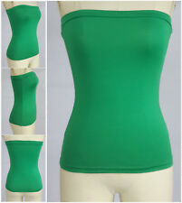 Womens Casual Strapless Sleeveless Tube Bandeau Bandage Long Top XS-4XL 20 color