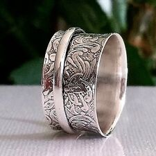 LADIES' size R 💎GENUINE💎sterling SILVER 925 handmade spinner Anxiety ring