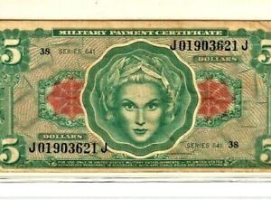 """$5 RARE!! """"MILITARY PAYMENT CERTIFICATE"""" (SERIES 641) """"MILITARY"""" SUPER CRISPY!!"""
