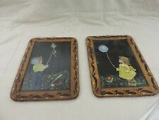 2 Vintage Hand Painted Portugal 2 Sided Framed Slate Chalkboard Boy Kite Girl