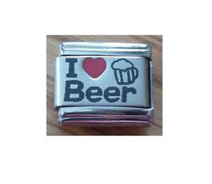 9mm Italian Charm L74  I ( Red Heart) Love Beer Fits Classic Size Bracelet