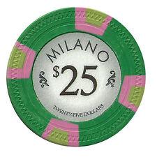 25 Green $25 Milano 10g Casino Clay Casino Poker Chips New - Buy 3, Get 1 Free