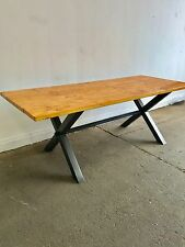 New Reclaimed Vintage industrial X frame Dining Table Scaffold Board Style Top