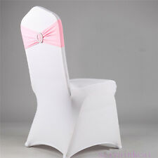 1pcs Spandex Stretch Wedding Chair Cover Band Sashes With Buckle Bow Slider Hot