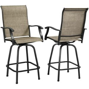 Outdoor Swivel Bar Stools, Set of 2 All-Weather Bar Height Patio Chairs, Brown