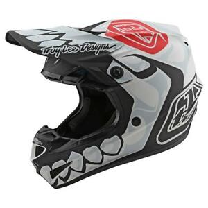 Casque Motocross Troy Lee Deisngs SE4 Polyacrylite Skully White TLD Enduro BMX