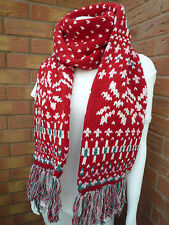 JACK WILLS RED LAMBSWOOL DOUBLE LAYERED FRINGED LINDOW SCARF BNWT RETAIL £39.50