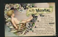 VALENTINE CUPID ROCKING CHAIR HEART 1918   POSTCARD