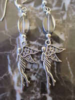 Oval Clear Glass Elegant Silver Fairy Artisan Earrings-Pagan Goddess Wicca