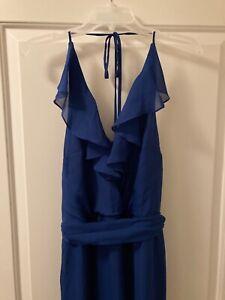 Nouvelle AMSALE 'Dani' Ruffle Neck V-Neck Halter Gown in Royal Blue. Size M.
