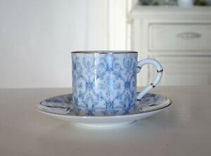 Vintage Blue Bone China Royal Worcester Aragon Espresso Demi Tasse Cup Saucer