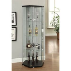 Coaster Glass Hexagonal Curio Cabinet in Black and Chrome