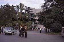 KODACHROME 35mm Slide Asia? Handsome Men Pretty Women Old Car Park Fashion 1968!