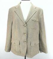 Ralph Lauren Blazer Jacket LRL Linen Tan Tweed Check Safari Women's size 14 $290