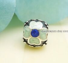 Authentic PANDORA Silver BLUE DAISY Aqua Enamel Charm 790433EB RETIRED
