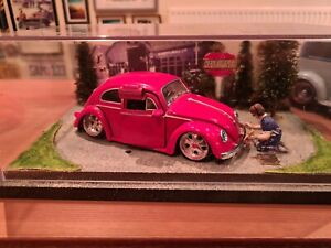 VW beetle DIORAMA , ratlook , diecast , custom , modified , stance