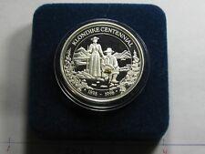 KLONDIKE GOLDRUSH ALASKA MINT WITH GOLD NUGGET 1998 CENTENNIAL 999 SILVER COIN#D