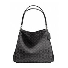 Authentic Coach F36424 Phoebe Outline Signature PVC/Leather Bag Smoke Black NWT