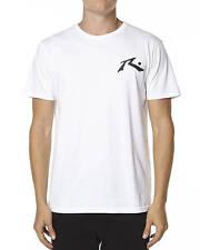 New Rusty Men's TV Screen Graphic-Print Logo Short Sleeve T-Shirt White Size M