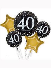 Quarantesimo anniversario Nero Oro e Argento Foil Balloon BOUQUET DISPLAY Partito Decorazione