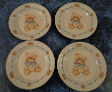 "4 dessert plates Tienshan Teddy Bear porcelain Theodore Country 7 1/2""  Vtge"
