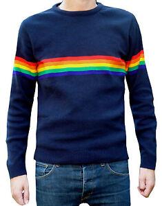 Mens Navy Blue rainbow jumper vtg retro 80s 70's indie hippy mod ELO McCartney