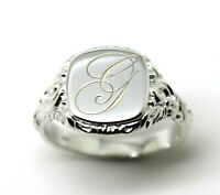 SOLID STERLING SILVER SQUARE ENGRAVED SIGNET RING ENGRAVED WITH ONE INITIAL