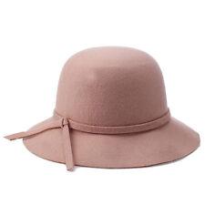 Femme Hiver Elegant Laine Bucket Chapeau Noeud Papillon Large Brim Solid