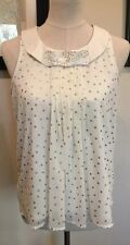 Lauren Conrad Blouse Top Sleeveless Size Small Gold Polka Dots Embellished Bow
