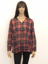 Unbranded Checked V Neck Plus Size Tops & Shirts for Women