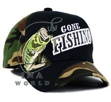 Fishing Fish hat Gone Fishing Outdoor Sports Baseball cap- Black/Woodland Camo