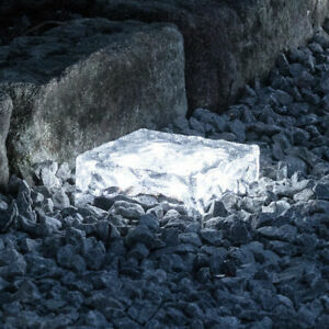 1~4Pack Solar Ice Cube Brick Lights Glass Rock Path Decking Garden LED Lamp UK