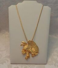 """Large Heavy Gold Plated Eagle Pendant with Round Durable  24"""" Length Chain"""