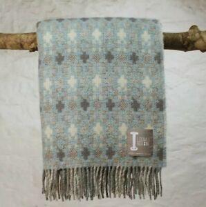 Loom & Bobbin UK Made Wool Blanket Welsh Tapestry / Fair Isle Design - Duckegg
