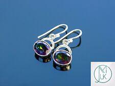 Mystic Quartz Natural Gemstone 925 Sterling Silver Earrings Quartz Healing Stone