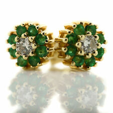 14K Yellow Gold Emerald Halo Diamond Center Floral Stud Earrings