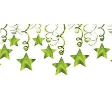 KIWI LIME GREEN SHOOTING STAR SWIRL DECORATIONS (30) ~ Birthday Party Supplies