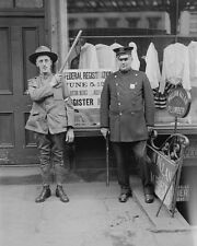 Police officer and soldier at WWI draft registration New York City Photo Print