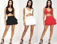 Ladies Women's Layered Ruffled Frill Hem Elastic Waist Mini Skirt Skorts Shorts