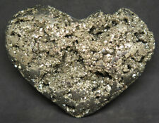 93mm 12.3OZ Natural Solid Pyrite Geode Crystal Cluster Carving Art Heart Gift