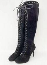 "Stuart Weitzman Black Suede Women's Highstrung ""Lace Up"" Knee High Boots 7"